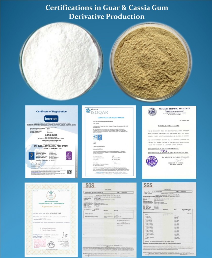 Certifications in Guar & Cassia Gum Derivative Production